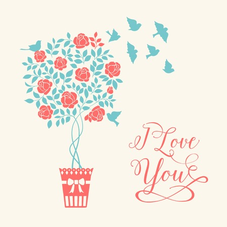 chik: Rose garden tree with birds over white background with elegant I love you sign. Vector illustration.