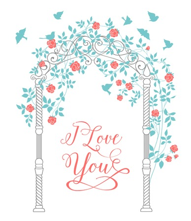 chik: I love you text card with rose arch and leaves isolated over white background. Vector illustration. Illustration