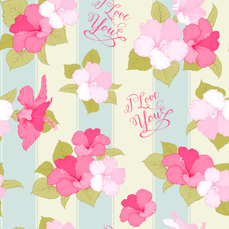 Bridal seamless pattern with exotic flowers and romantic sign. I love you text. Vector illustration. Vector