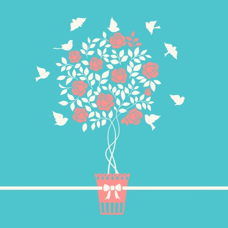 chik: Rose garden bush isolated over blue background. Vector illustration. Illustration