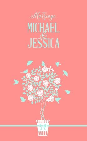 arbol p�jaros: Rose icono arbusto sobre tarjeta de fondo rojo con el texto matrimonio. Ilustraci�n del vector.