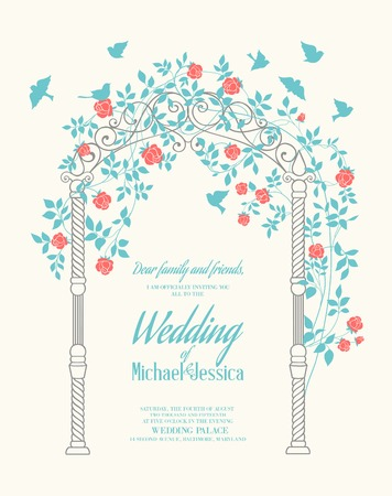 Wedding rose arch with calligraphic custom text. Printable image. Vector illustration. Vector