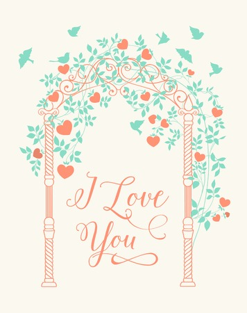 chik: Wedding rose arch with calligraphic custom text. Printable image. Vector illustration.