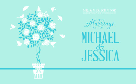chik: Rose bush icon over green background card with marriage text. Vector illustration.