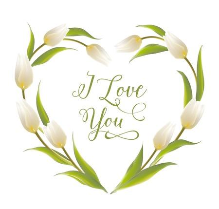 Tulip heart frame bouquet over white background. Vector illustration. Illustration