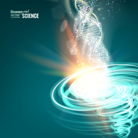 Science concept image of DNA with energy tornado. Vector illustration.