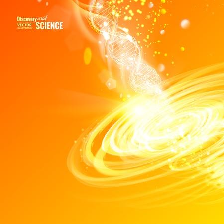 Science concept image of DNA with energy tornado over orange backdrop. Vector illustration.