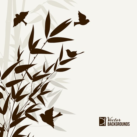 Bamboo bush with birds, ink painting over gray background. Vector illustration.