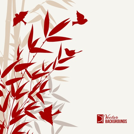 palmetto: Bamboo art with bords in red over gray background. Vector illustration. Illustration