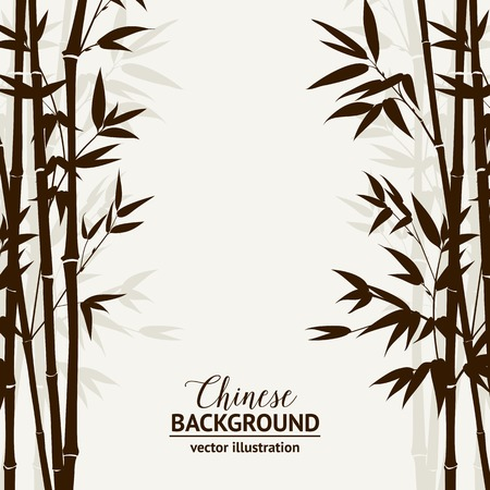 Bamboo forest over fog sky on backside, design card. Vector illustration.