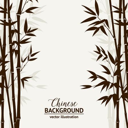 bambu: Bosque de bambú sobre el cielo de niebla en la parte posterior, tarjeta de diseño. Ilustración del vector. Vectores