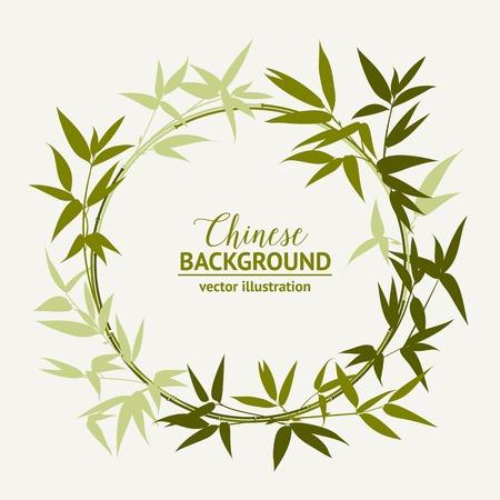 Bamboe decoratieve groene cirkel die over lichte achtergrond. Vector illustratie.
