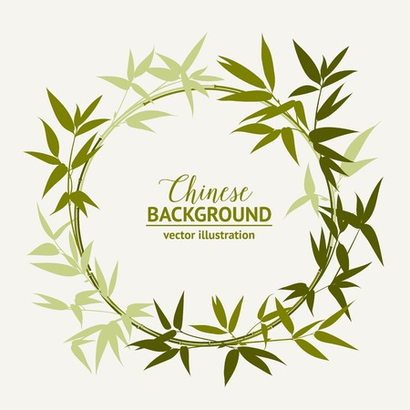 chinese border: Bamboo decorative green circle isolated over light background. Vector illustration. Illustration