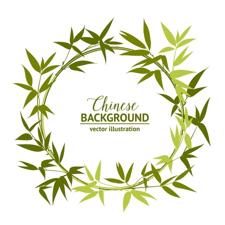 bamboo border: Green bamboo wreath, circle frame for your text card template. Vector illustration. Illustration