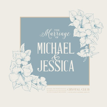 Marriage design template with custom names in square frame with exotic flowers. Vector illustration.