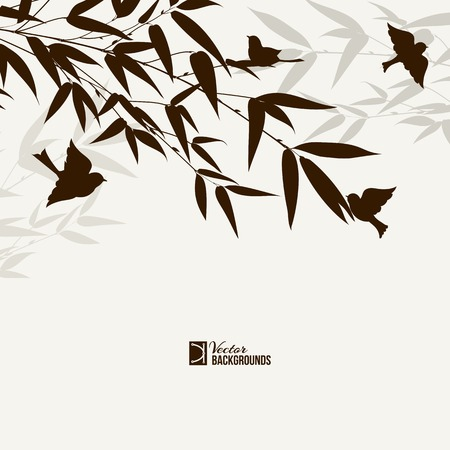 palmetto: Bamboo bush with birds, ink painting over gray background. Vector illustration.