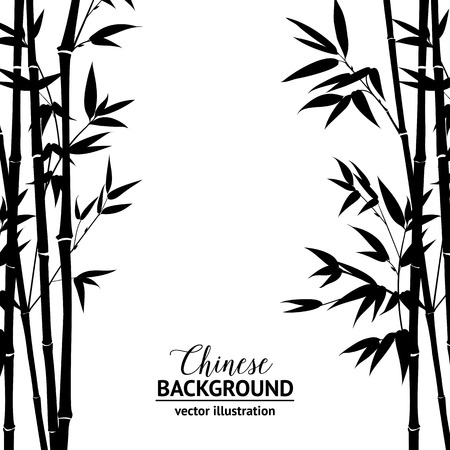branch isolated: Bamboo bush, ink painting over white background. Vector illustration.