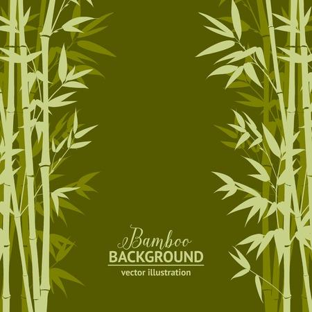 緑の背景、デザイン カード上の竹の森。ベクトル イラスト。