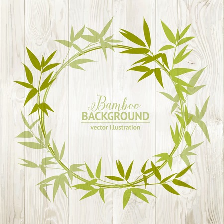 wooden circle: Bamboo decorative circle isolated over wooden background. Vector illustration. Illustration