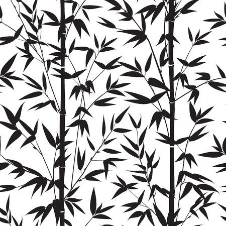vectro: Bamboo black seamless pattern isolated on white background. Vectro illustration.