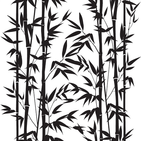 japanese garden: Bamboo seamless pattern isolated on white background. Vectro illustration.