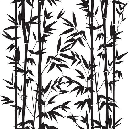Bamboo szwu wzór na białym tle. Vectro ilustracji.