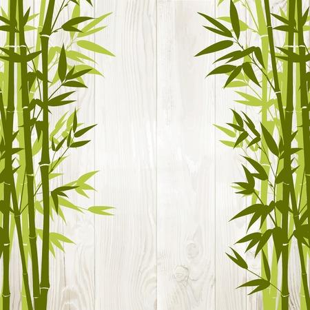 backside: Bamboo green forest over wooden wall on backside. Vector illustration.