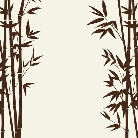 灰色の背景、デザイン カード上の竹の森。ベクトル イラスト。