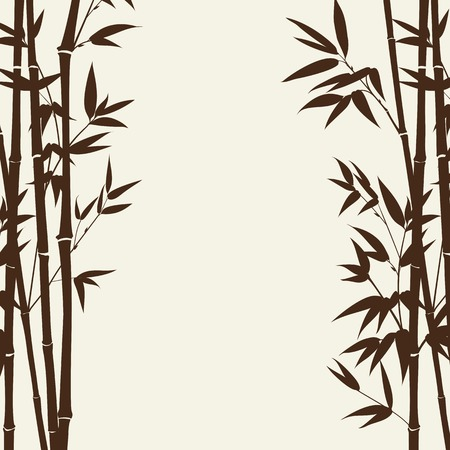 Bamboo forest over gray background, design card. Vector illustration. Vector