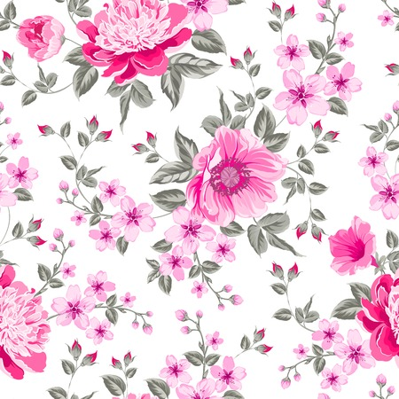 Luxurious color peony seamless pattern. Vector illustration. Vector