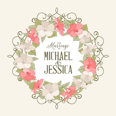 Rose mallow garland over pink background with marriage text. Vector illustration.
