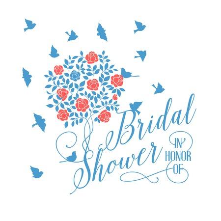 bride and groom background: Bridal shower card of pink blooming rose bush. Vector illustration.