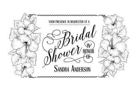ハイビスカスの花とブライダル シャワーの招待カード。水平ベクトル イラスト。