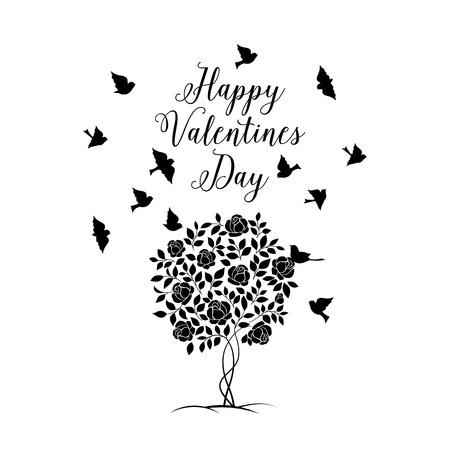 Happy Valentines Background of isolated blooming rose bush with birds. Vector illustration. Vector