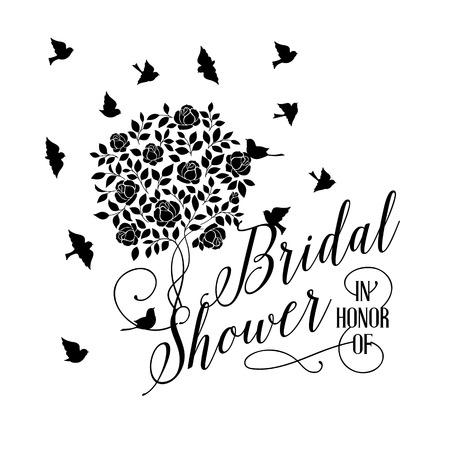 bridal couple: Bridal shower card of isolated blooming rose bush. Vector illustration. Illustration
