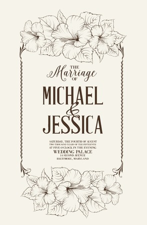 romance: Marriage design template with custom names in square frame with exotic flowers. Vector illustration.