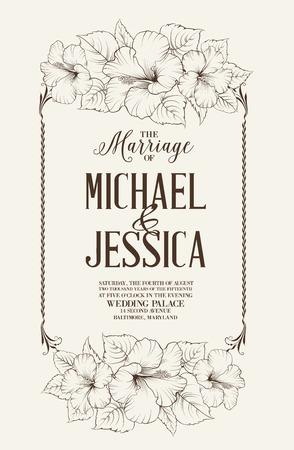 �illustration: Matrimonio plantilla de dise�o con nombres personalizados en marco cuadrado con flores ex�ticas. Ilustraci�n del vector.