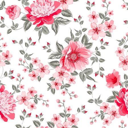 Luxurious color peony seamless pattern. Vector illustration.