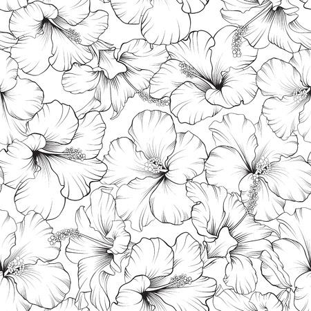 あなたのデザインの美しいハイビスカス シームレスなパターン。ベクトル イラスト。