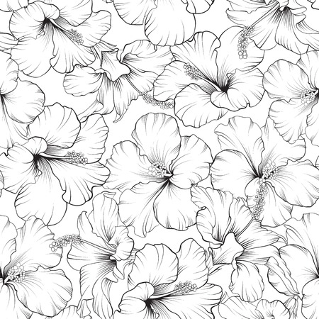 Beautiful hibiscus seamless pattern for your design. Vector illustration.
