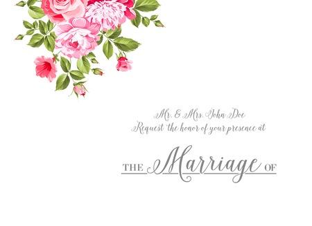 Huwelijk uitnodigingskaart met aangepaste teken en bloem frame op een witte achtergrond. Vector illustratie. Stock Illustratie