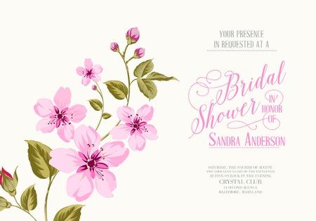 桜の花を持つブライダル シャワーの招待状。ベクトル イラスト。  イラスト・ベクター素材