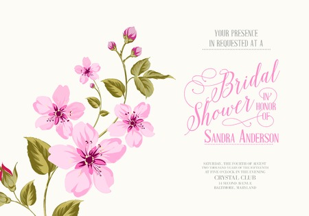 japan calligraphy: Bridal shower invitation with sakura flowers. Vector illustration.