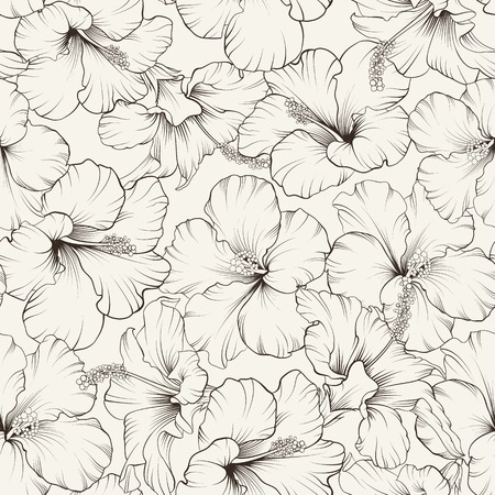 fabric samples: Beautiful hibiscus seamless pattern for your design. Vector illustration.