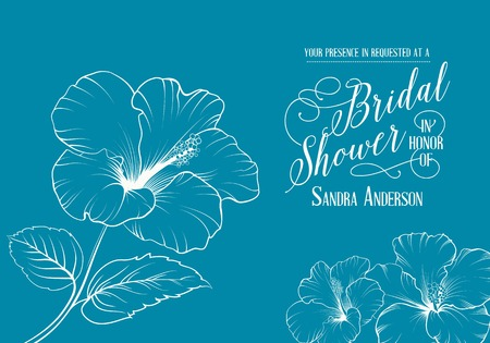 Bridal shower invitation with exotic flowers. Vector illustration. Vector