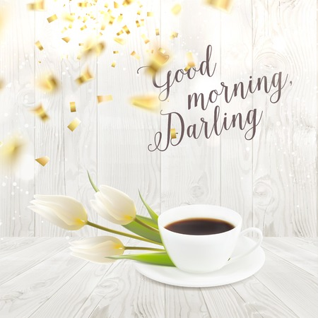 the darling: Card with morning coffee cup and flowers over wooden walls. Sign good morning darling. Vector illustration. Illustration