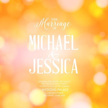 mariage: carte de mariage avec le texte de mod�le et arri�re-plan flou. Vector illustration.
