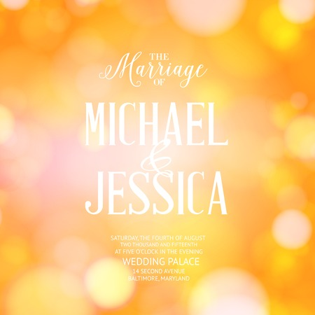 background cover: Marriage card with template text and blurred background. Vector illustration.