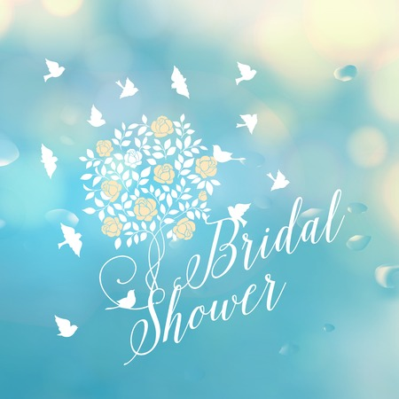 bridal shower: Bridal shower template card. Text implementation ready. Vector illustration.