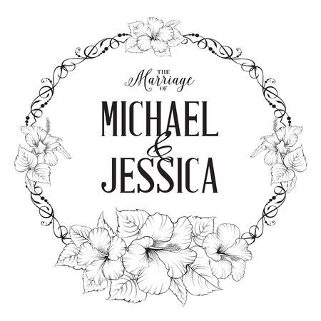wedding couple silhouette: Invitation card with floral whreath and template text. Vector illustration.